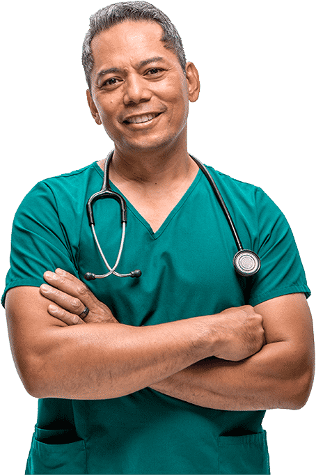 Male clinician in scrubs