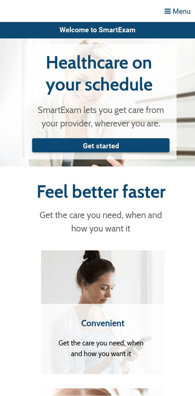 SmartExam welcome screen