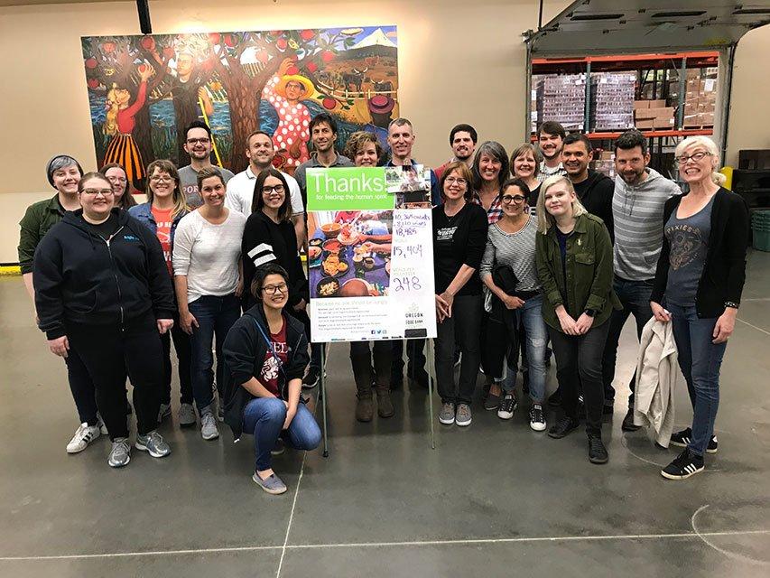 Employees at Volunteer Oregon Food Bank